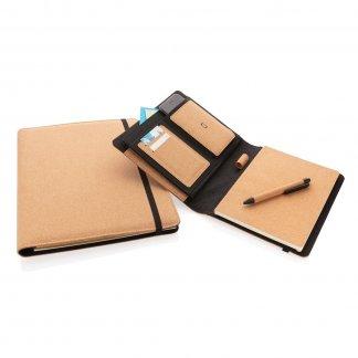 Conférencier A4 personnalisé en liège avec stylo - fermeture élastique - CONFI