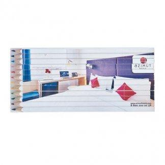 12 crayons de couleur carrés publicitaire en bois certifié - TW-QUADRI