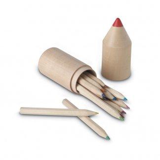 12 petits crayons de couleur dans tube en bois publicitaire - ouvert - COLORET