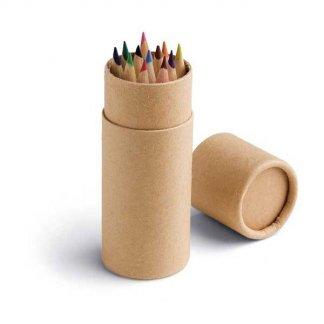 12 petits crayons de couleur dans tube en carton recyclé publicitaire - PENCIL TUBE