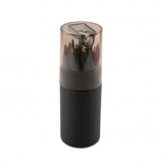 12 petits crayons de couleur noirs + taille-crayon dans tube en carton noir publicitaire - Fermé - BLOCKY