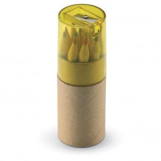 12 petits crayons de couleur + taille-crayon dans tube en carton publicitaire - Jaune - LAMBUT