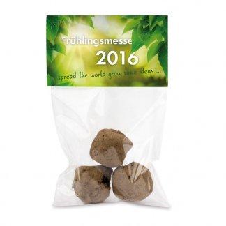 3 Boules avec graines de fleurs dans sachet promotionnel - BOULES FLEUR SACHET