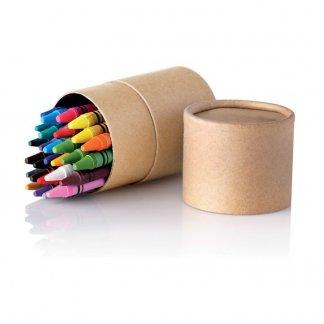 30 petits crayons de cire dans tube en carton publicitaire - ouvert - STRIPER