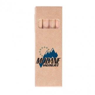 4 petits crayons de couleur publicitaires en bois certifié - MINICOLOR