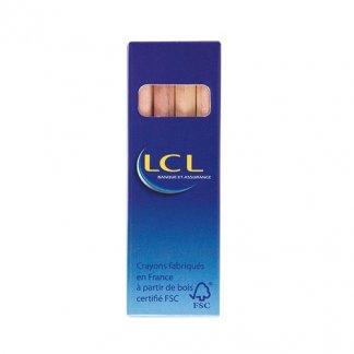 4 petits crayons de couleur publicitaires en bois certifié - quadri - MINICOLOR