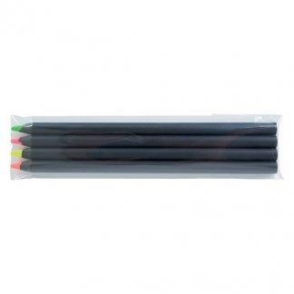 4 surligneurs fluo en bois certifié publicitaire - 17,6cm - FLUO 4 BLACK