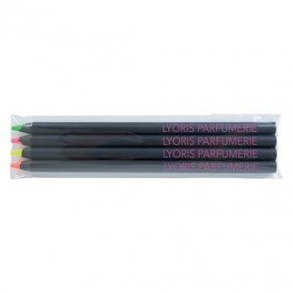 4 surligneurs fluo en bois certifié publicitaire - 17,6cm - avec marquage - FLUO 4 BLACK