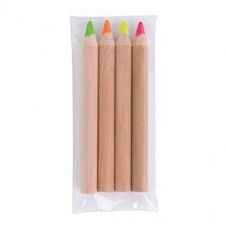 4 surligneurs fluo publicitaire en bois de cèdre - CHARLO