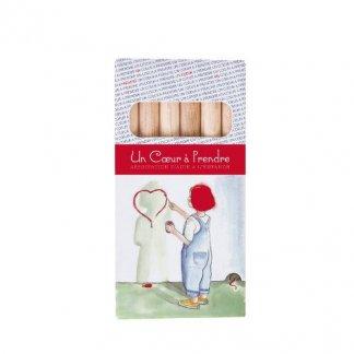 6 crayons aquarellables publicitaire en bois certifié - petits - blanc - SIXAQUA