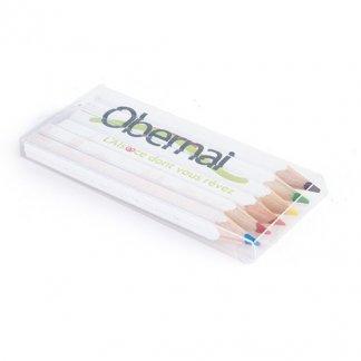 6 crayons de couleur carrés publicitaires en bois certifié - small - SIXQUADRI