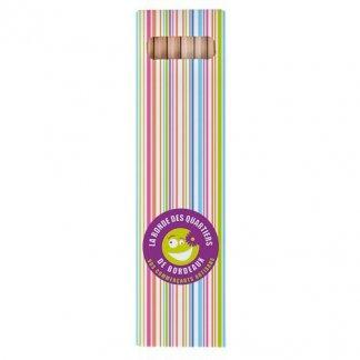 6 crayons de couleur publicitaire en bois certifié - SIXCOLOR