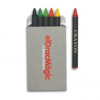 6 petits crayons de cire noirs publicitaire - Avec marquage - BRABO