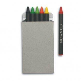 6 petits crayons de cire noirs publicitaire - BRABO