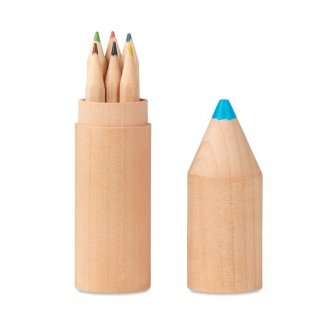 6 petits crayons de couleur dans tube en bois en forme de crayon personnalisable - PETIT COLORET