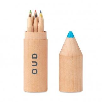 6 petits crayons de couleur dans tube en bois en forme de crayon personnalisé - Avec logo - PETIT COLORET