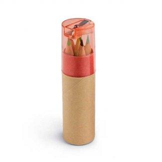 6 petits crayons de couleur + taille-crayon dans tube en carton recyclé publicitaire - Rouge - SHARPENER