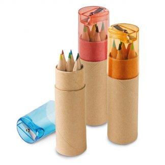 6 petits crayons de couleur + taille-crayon dans tube en carton recyclé publicitaire - SHARPENER