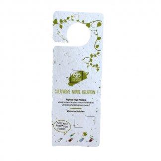 Accroche rétroviseur ou porte publicitaire à planter biodégradable avec graines - HAPPYFLOWER