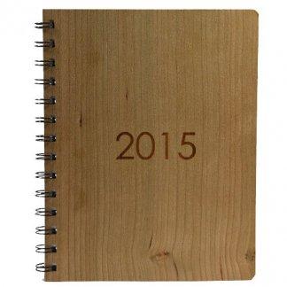 Agenda spirale 2015 publicitaire en bois naturel - cerisier - AGENDA SPIRALE NATURE