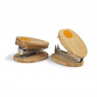 Agrafeuse + ôte-agrafes promotionnel en bambou - Orange - BAMSTAP