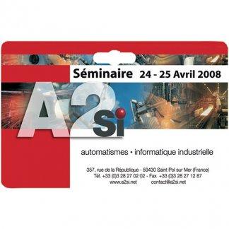 Badge publicitaire à votre forme en PVC - séminaire - PERSO