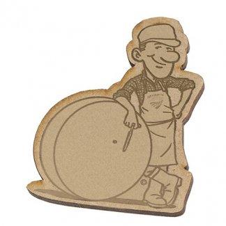 Badge publicitaire à votre forme en bois aggloméré - gravure - AGGLOBADGE
