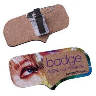 Badge publicitaire à votre forme en bois aggloméré - recto verso - AGGLOBADGE