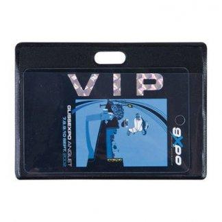 Badge publicitaire en PVC - horizontal - VIP - PVB