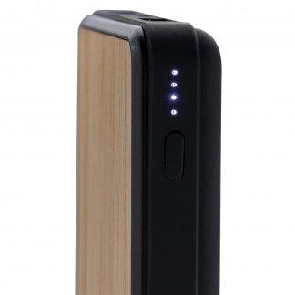 Batterie de secours avec induction personnalisable en bambou - 8000mAh - Indication niveau charge - POWERBAMB