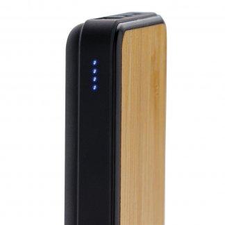 Batterie de secours de poche publicitaire en bambou - 5000mAh - Indicateur de charge - POWERPOCHE