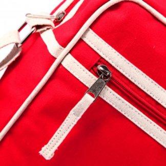 Besace Vintage publicitaire en coton biologique - zoom rouge - LEOPOLD