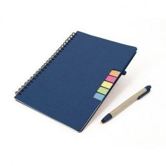 Bloc A5 promotionnel + notes + stylo en carton recyclé - bleu - CANIT