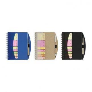 Bloc A6 personnalisable + notes + règle + stylo en carton recyclé - 3 couleurs - ARCADE