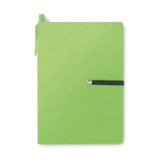 Bloc A6 promotionnel + notes + stylo en carton recyclé - Vert - RECONOTE