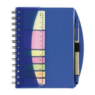 Bloc A6 publicitaire + notes + règle + stylo en carton recyclé - Bleu - ARCADE