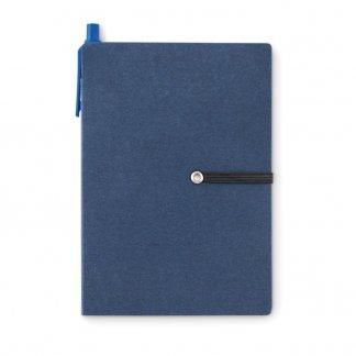 Bloc A6 publicitaire + notes + stylo en carton recyclé - Bleu - RECONOTE