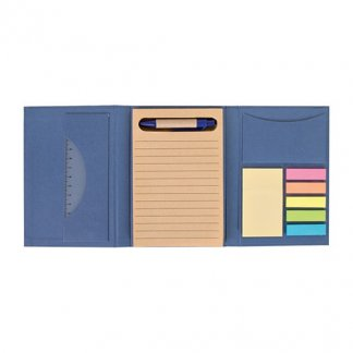 Bloc A6 + règle + notes + stylo en carton recyclé publicitaire - ouvert - POCKET