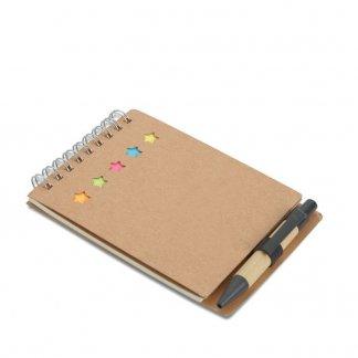Bloc A7 publicitaire + notes + stylo en carton recyclé - fermé - MULTIBOOK