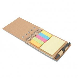 Bloc A7 publicitaire + notes + stylo en carton recyclé - ouvert - MULTIBOOK