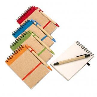 Bloc-notes A6 + stylo en carton recyclé publicitaire - 5 couleurs - SONORA