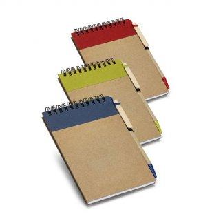 Bloc-notes A6 + stylo publicitaire en carton naturel - 3 couleurs - WISE
