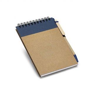 Bloc-notes A6 + stylo publicitaire en carton naturel - Bleu - WISE
