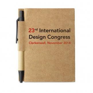 Bloc-notes A7 + stylo en carton recyclé publicitaire - Avec marquage - CARTOPAD