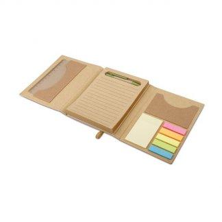 Bloc-notes personnalisable de feuilles repositionnables en carton naturel - ouvert - COMPLETO