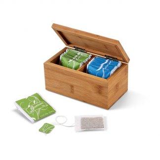 Boîte à thé publicitaire en bambou - 20 sachets