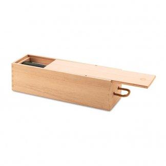 Boîte à vin publicitaire en bois de paulownia - ouverte - VINBOX