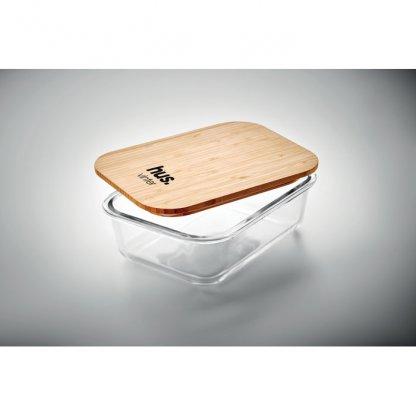 Boîte Repas En Verre Avec Couvercle Bambou TUNDRA LUNCHBOX Avec Marquage