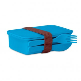 Boîte repas nomade promotionnelle en fibre de bambou et polypropylène - Bleu foncé - ASTORIABOX