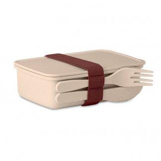 Boîte repas nomade publicitaire en fibre de bambou et polypropylène - Naturel - ASTORIABOX